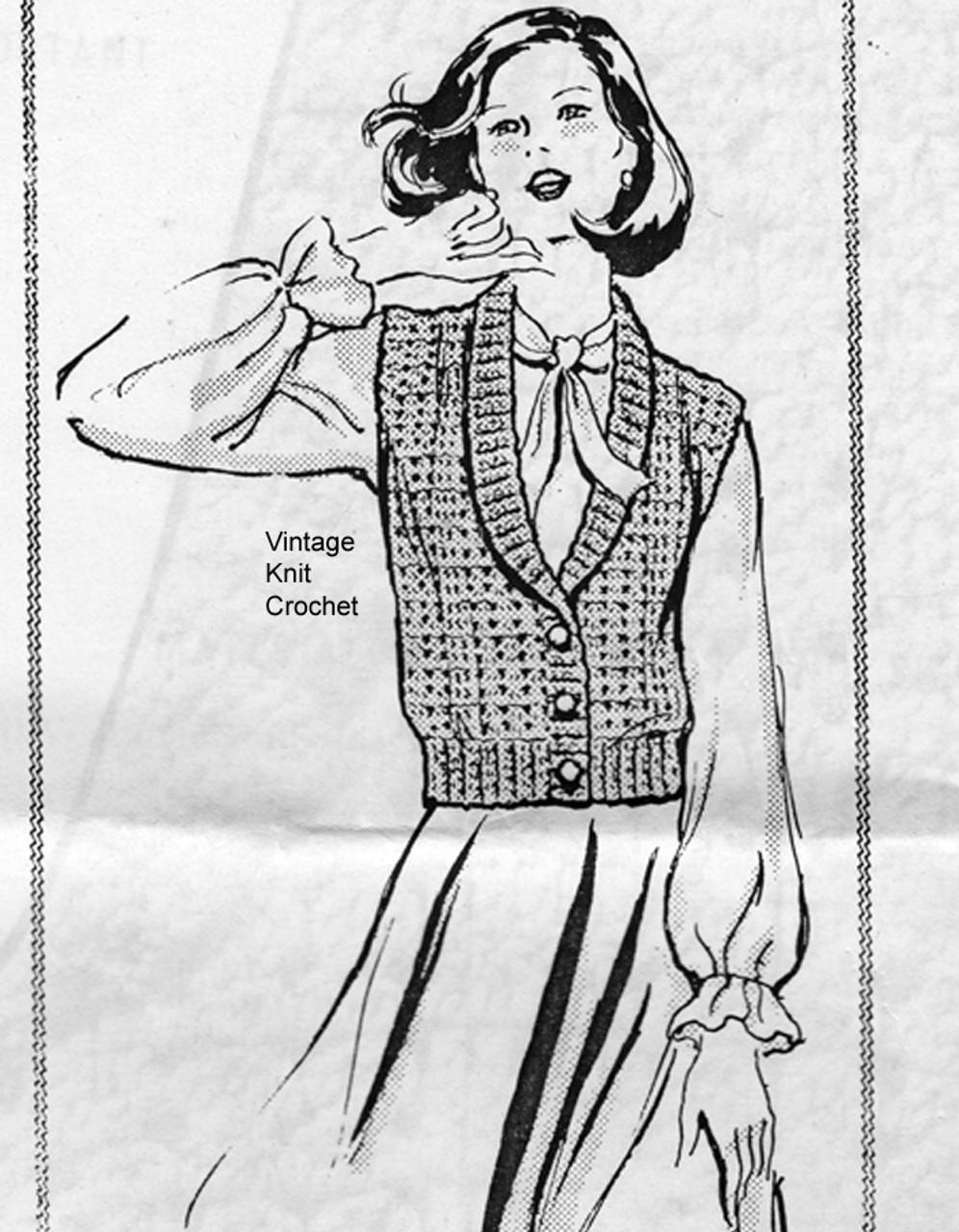 Loose Fitting Crocheted Vest Pattern, Alice Brooks 7141