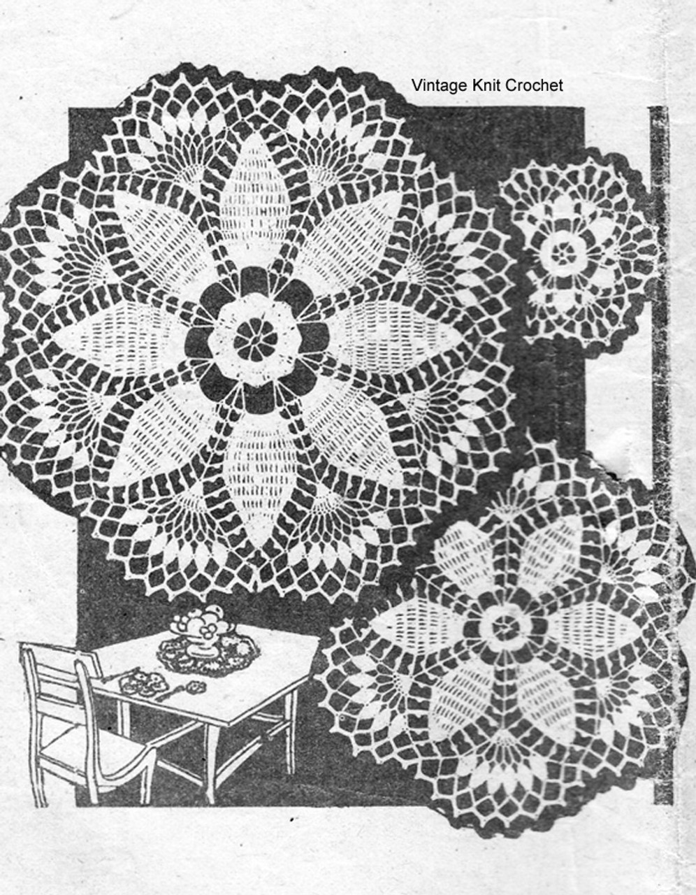 Crochet Luncheon Set Pattern, Pineapple Flowers, Design 899