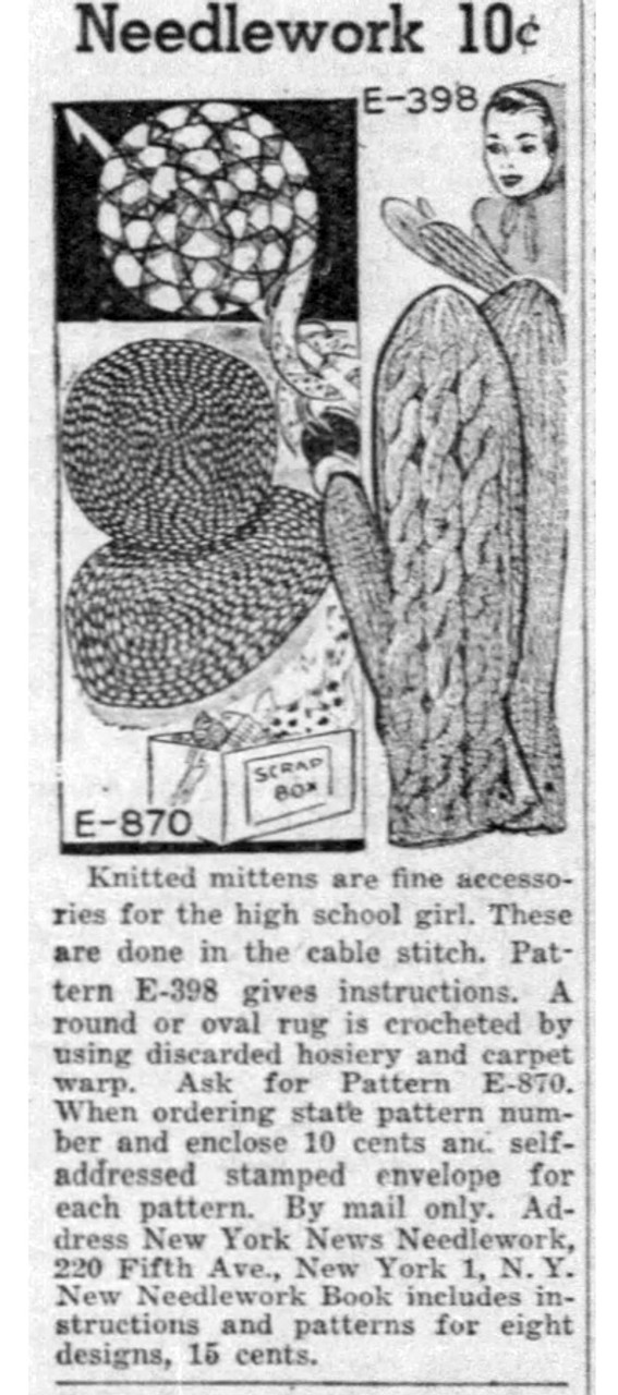 Crochet Rug Advertisement Needlework Bureau E-870