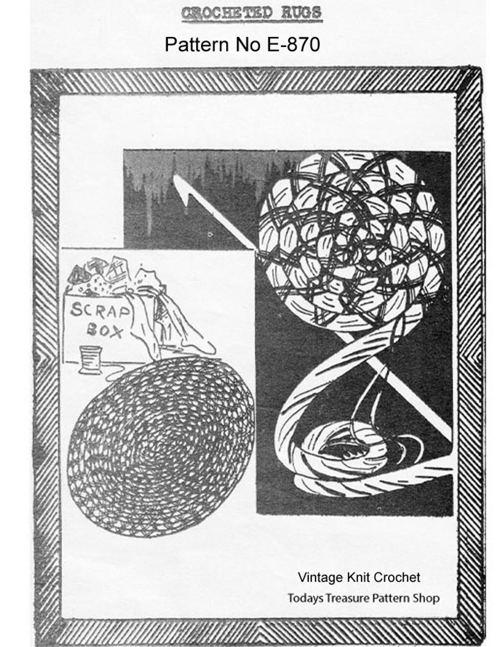 Vintage Crochet Rag Rug Pattern, Martha Madison 870