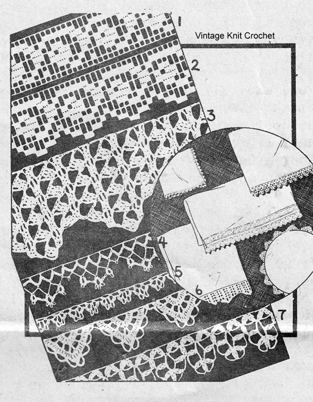 Filet Crochet Edging Pattern, Alice Brooks 5709