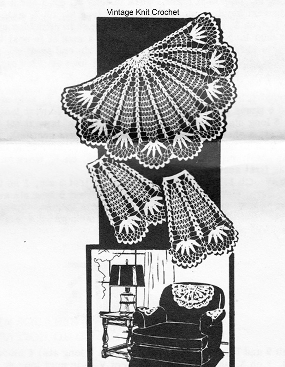 Mail order pineapple chair doily, laura wheeler 844