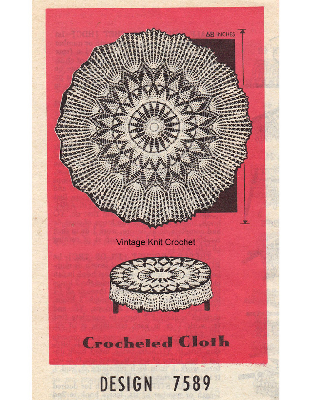 Round Pineapple crochet cloth pattern, Mail Order 7589