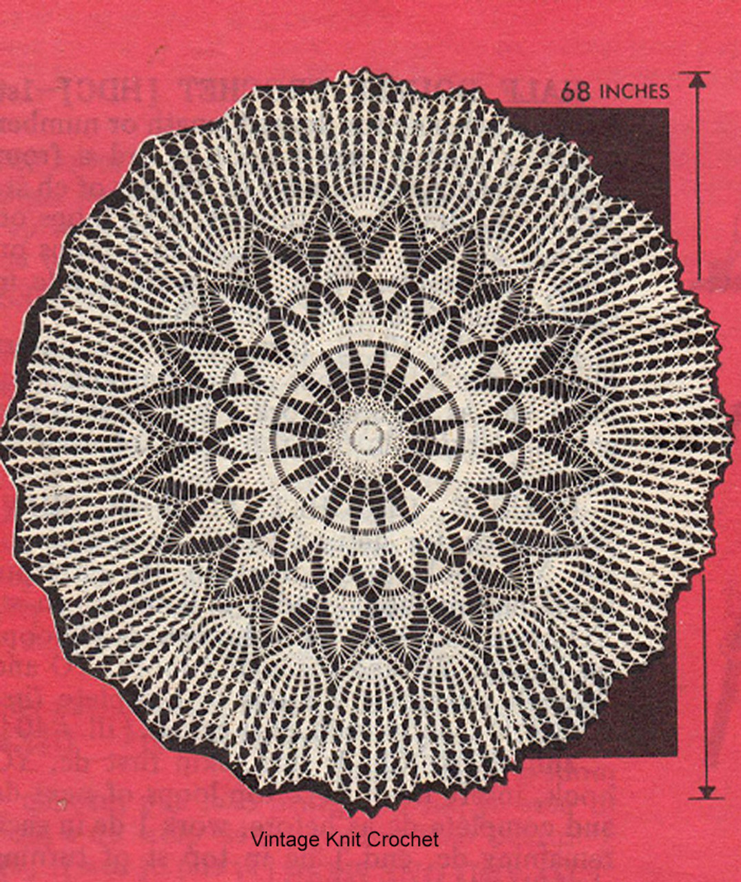 Mail Order Crochet Tablecloth Pattern, Pineapples, Design 7589