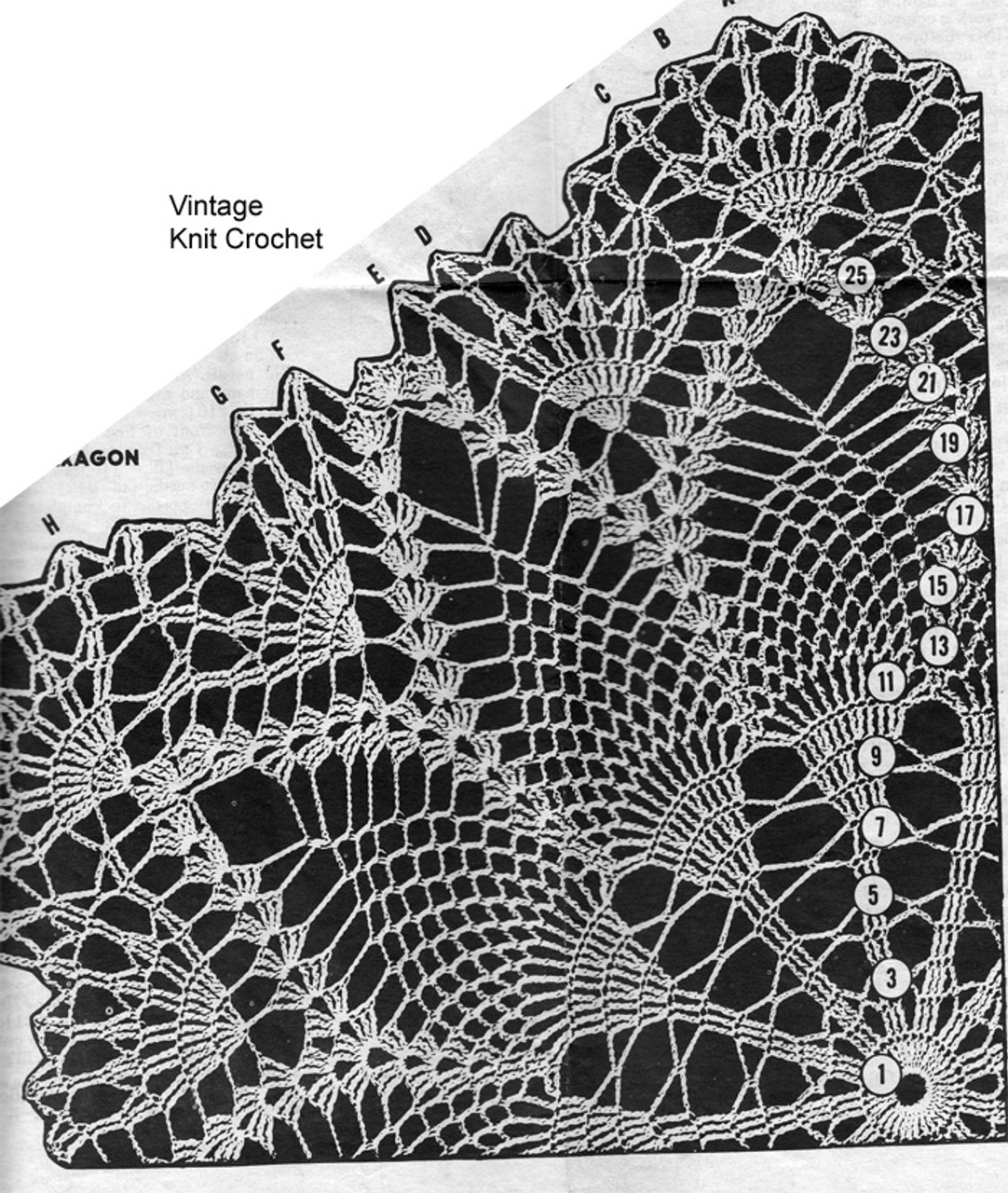 Pineapple Medallion pattern stitch illustration