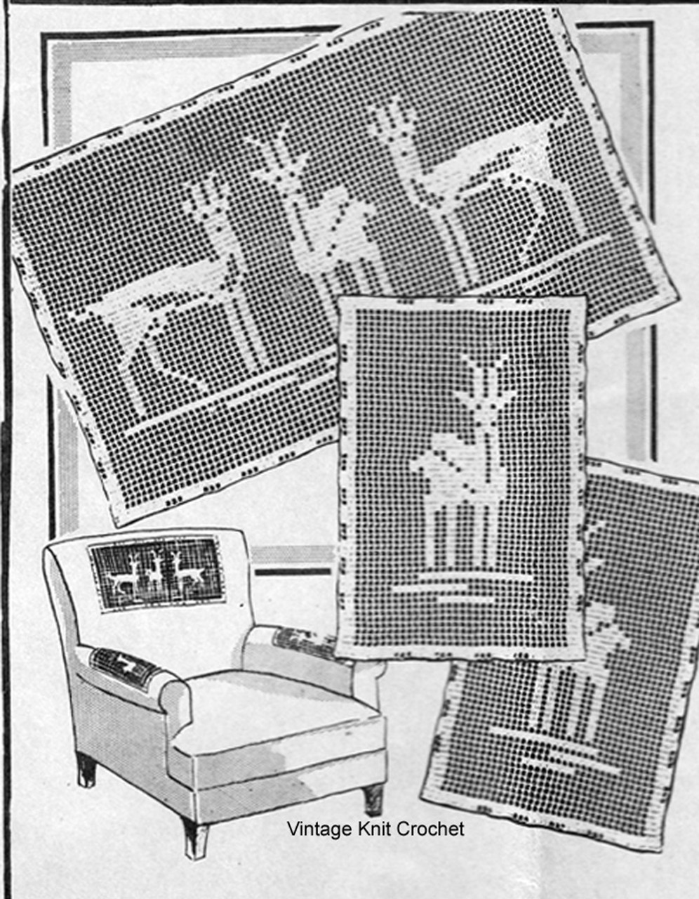 Vintage Filet Crochet Deer Doily Pattern, Mail Order 5358
