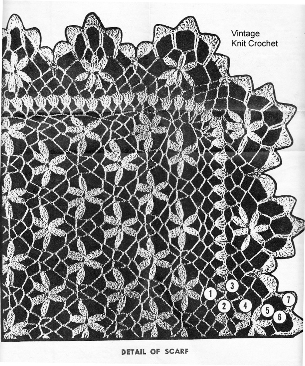 Petal Stitch Crochet Scarf Pattern, Design 7294