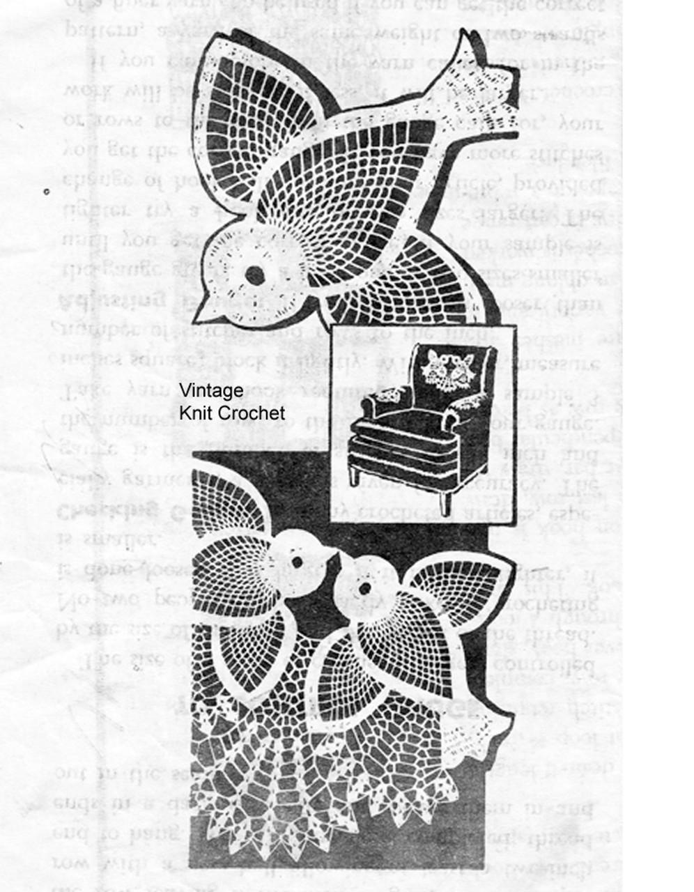 Two pineapple birds crochet chair Doily Set, Alice Brooks 7188