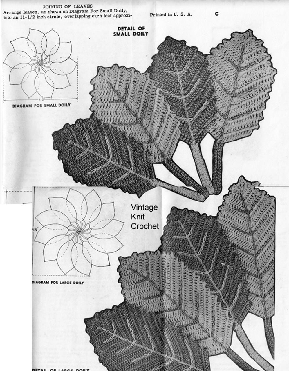 Crochet Leaf Doilies Pattern Stitch Illustration, Mail order 7346