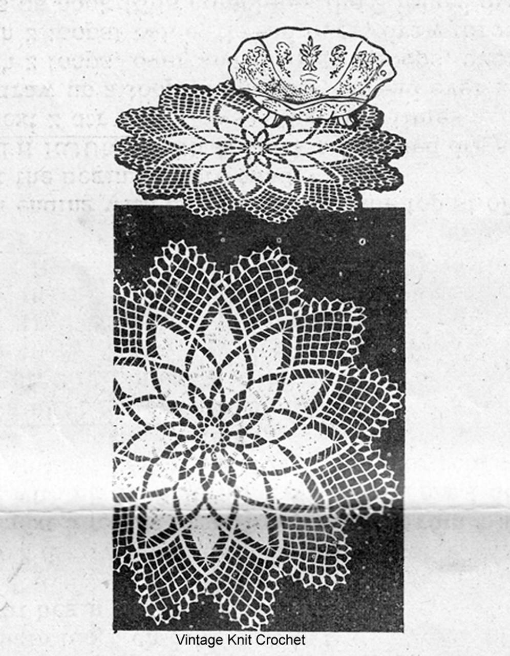 Mail Order Crochet Flower Doily Pattern, Alice Brooks 7328