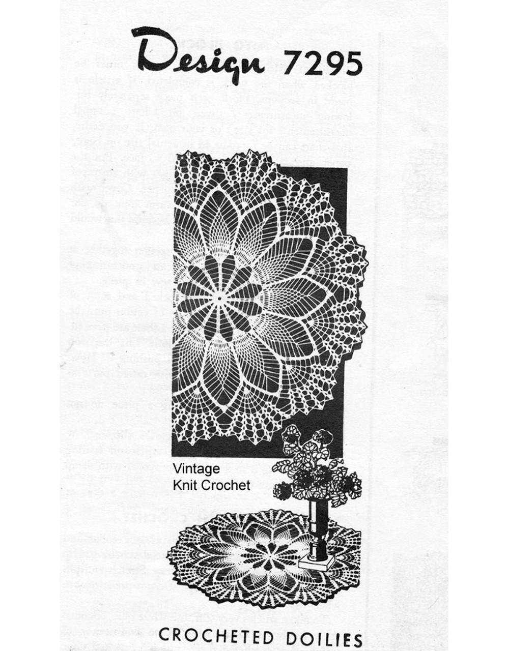 Mail Order Crochet Pineapple Doily Pattern, Shell Border, Design 7295