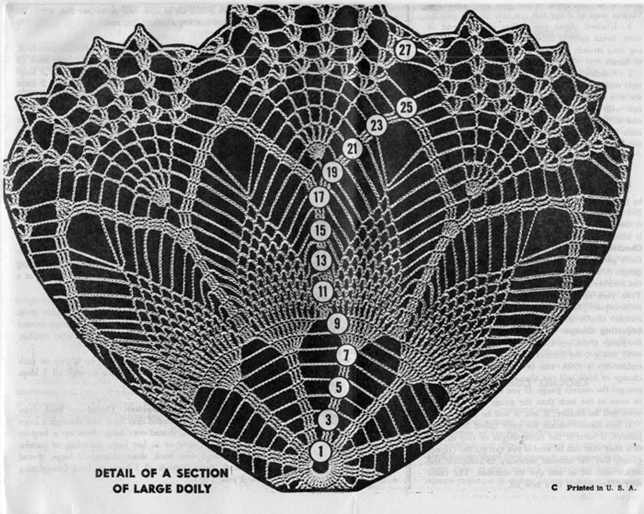 Large doily illustration for crochet pattern Mail Order 7295