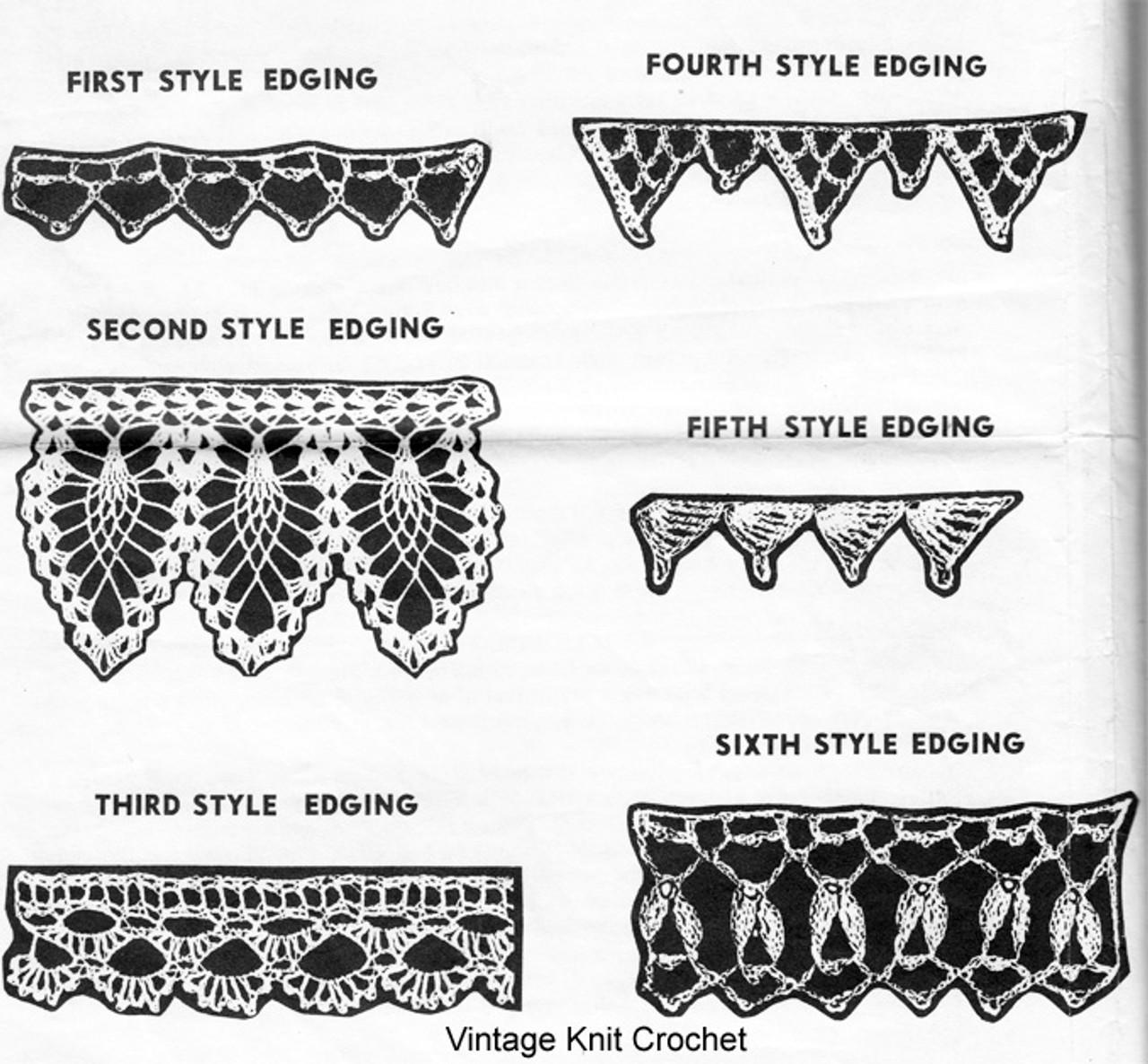 Crochet pineapple edging pattern, Alice Brooks 7101
