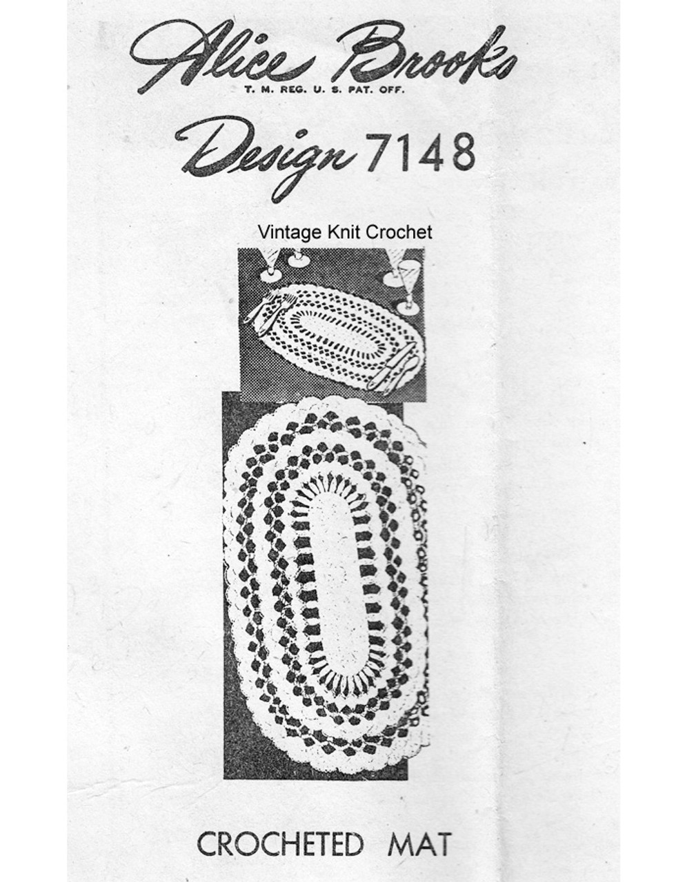 Oval Placemat Crochet Pattern, Mail Order Design 7148