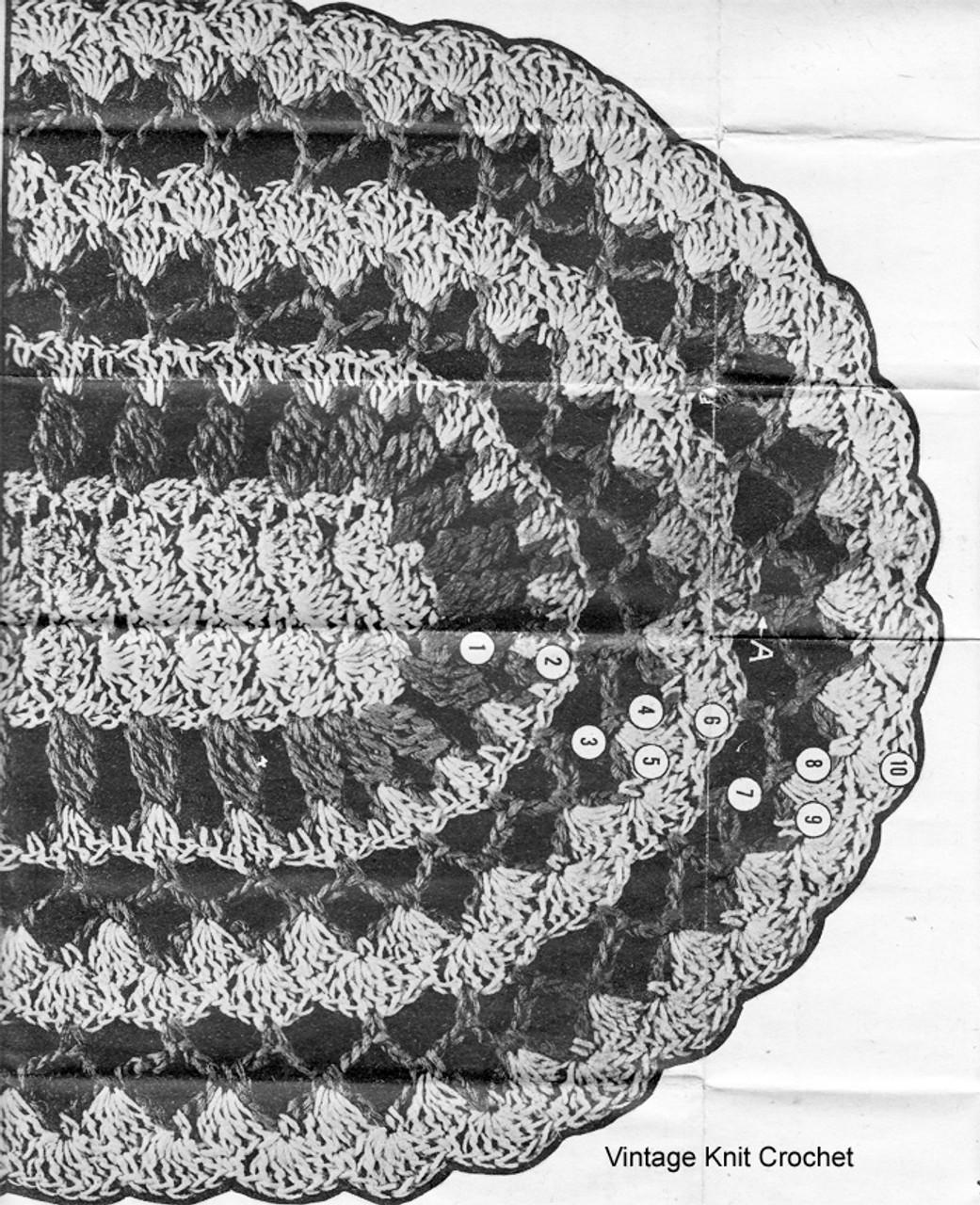 Crochet Oval Mats Pattern Stitch Illustration, Design 7148