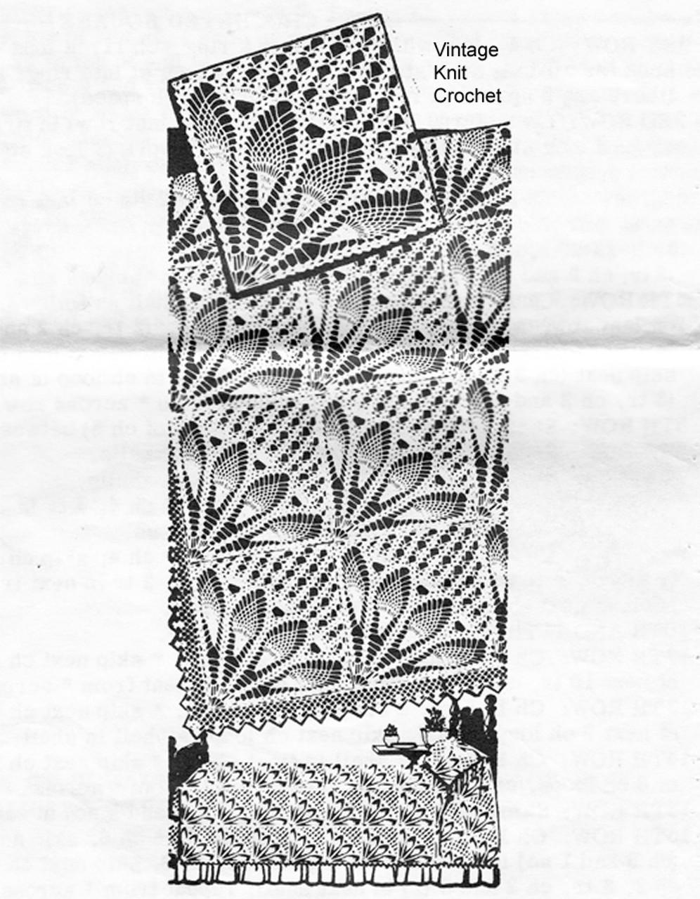 Crochet Bedspread Pattern, Fan Squares, Mail Order 508