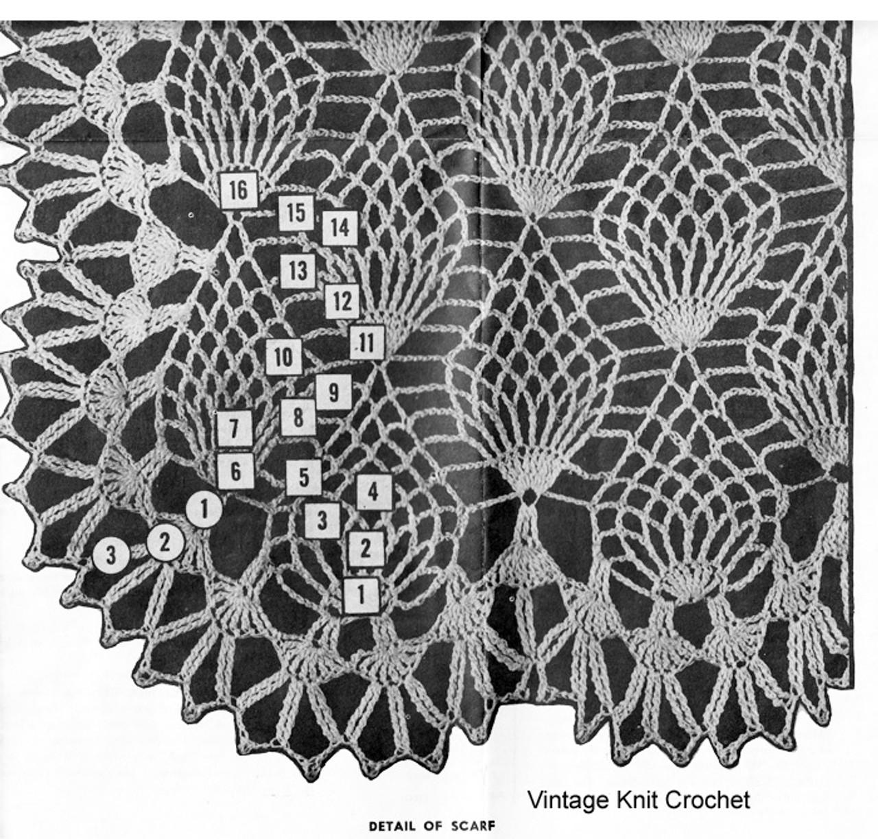 Pineapple Scarf Pattern Stitch Illustration, Design 7171