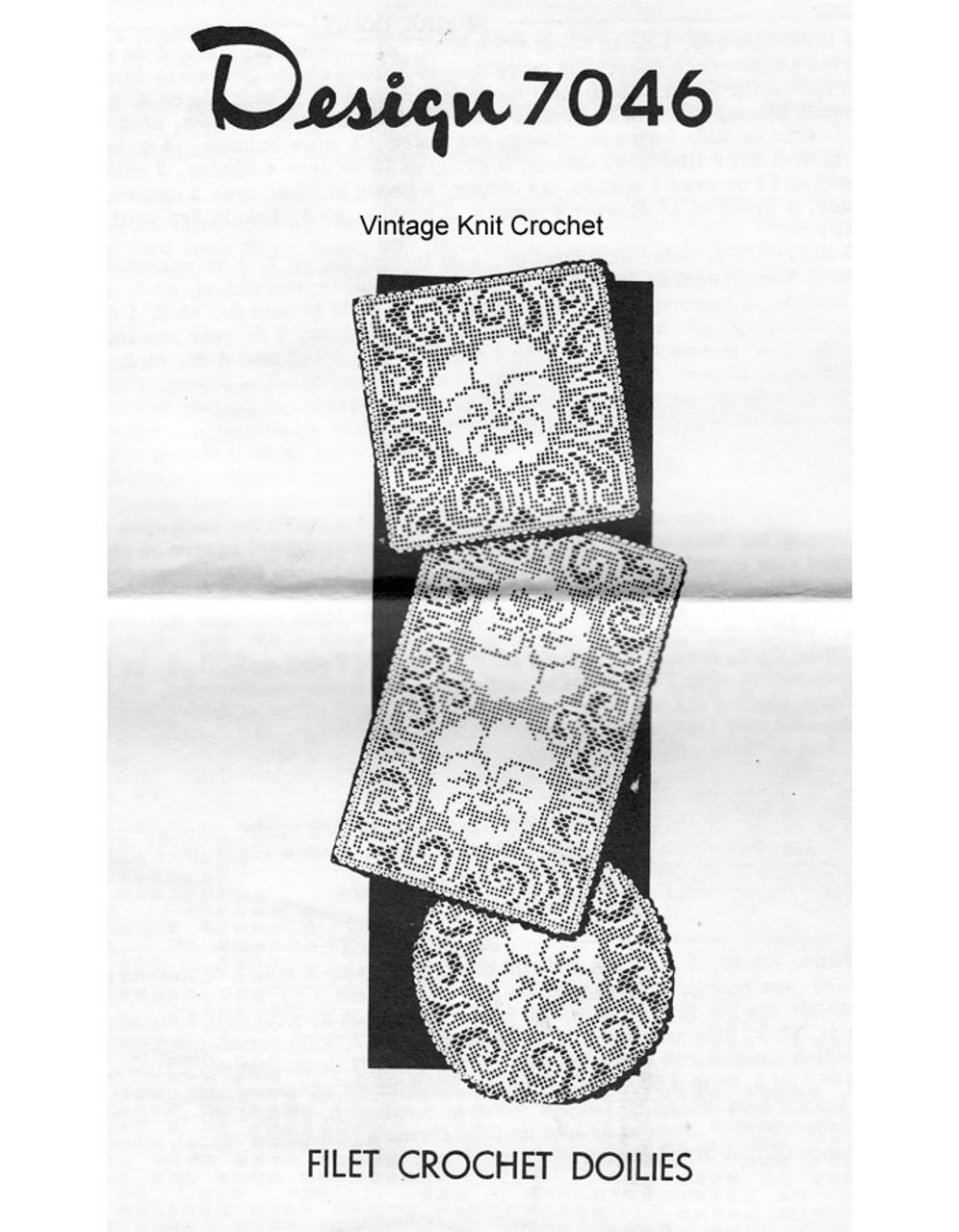 Square Filet Crochet Doily Pattern, Pansy, Mail Order 7046
