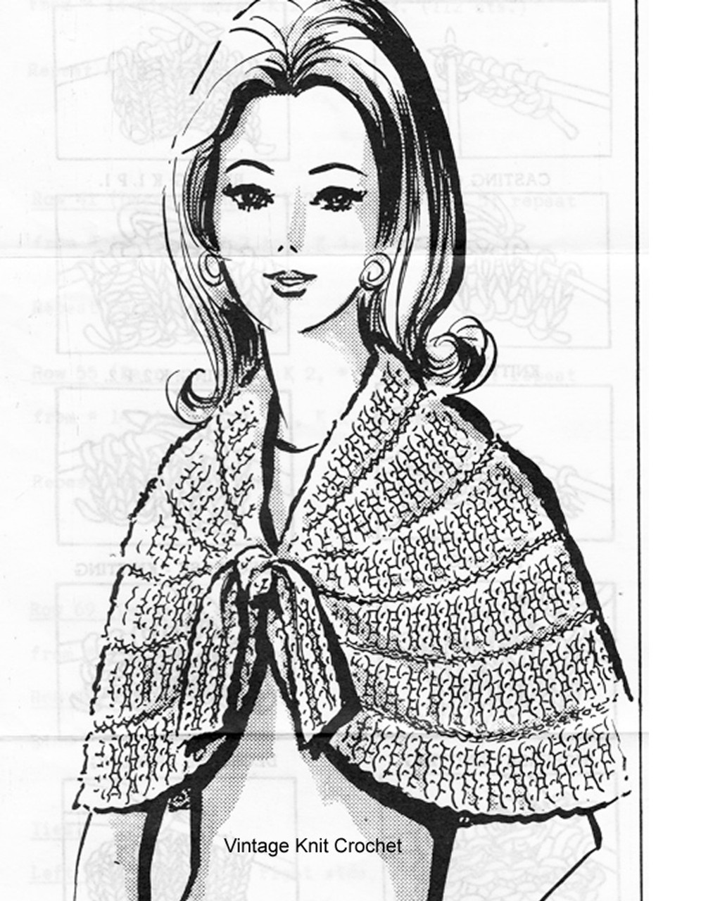 Knitted Capelet, Bow Tie, Anne Cabot 5564