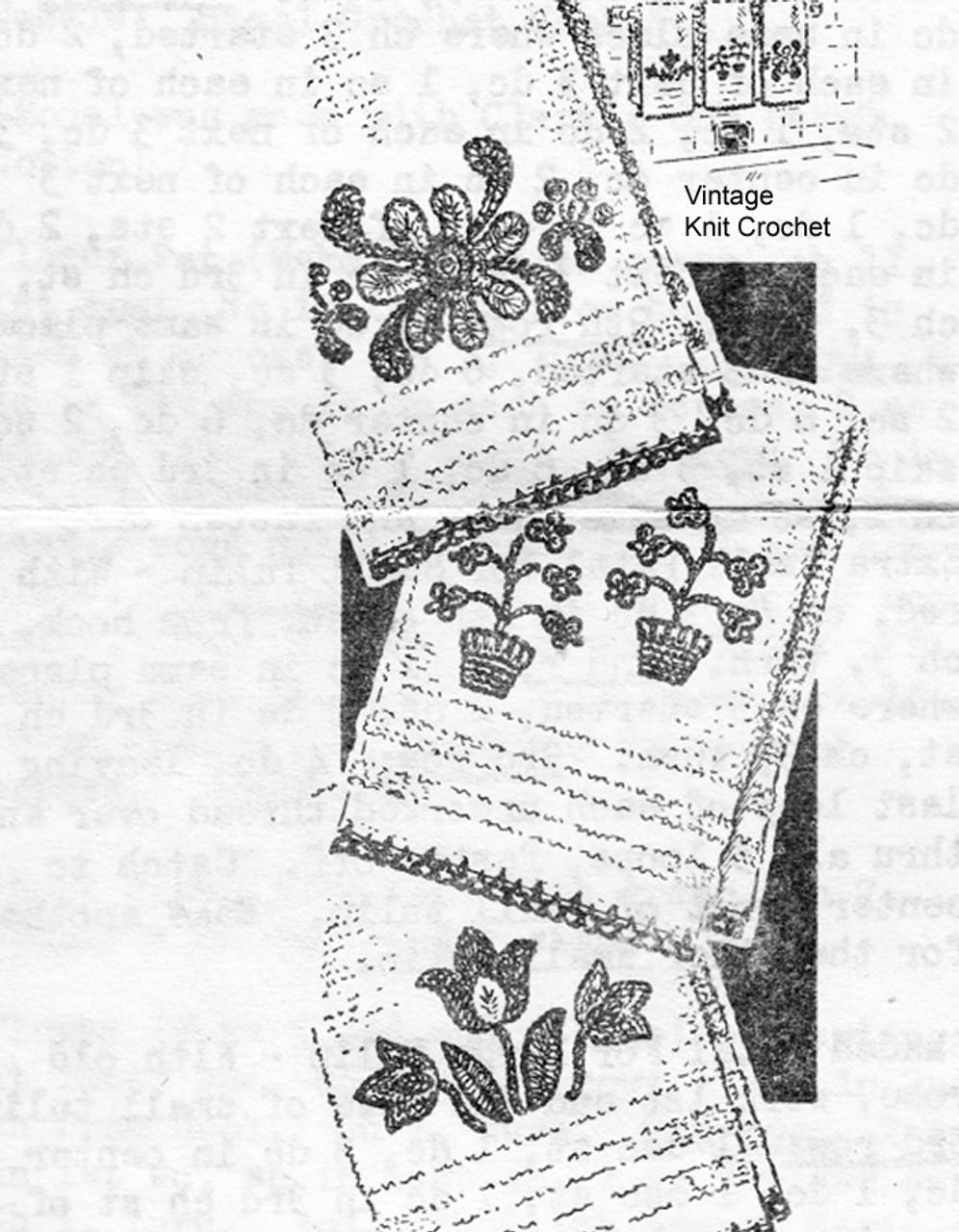 Vintage Flower Crochet Applique Edging Pattern, Anne Cabot 5879