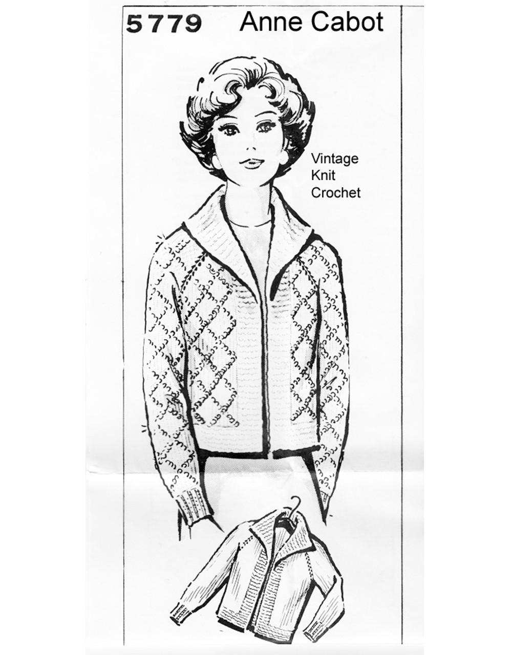 Knitted Raglan Sleeve Sweater Pattern, Mail Order 5779