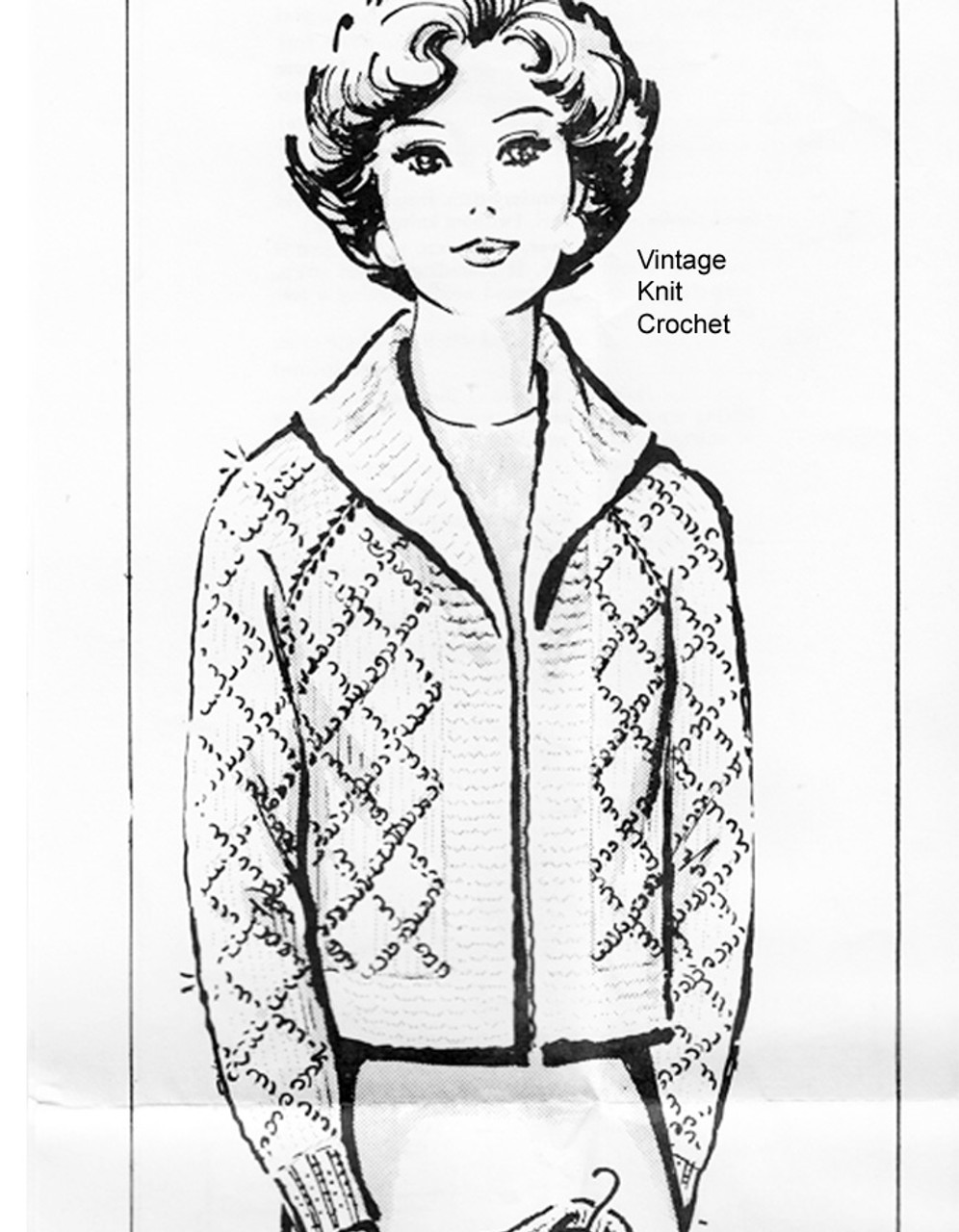Short Jacket Knitting Pattern, Sequin Trim, Anne Cabot 5779