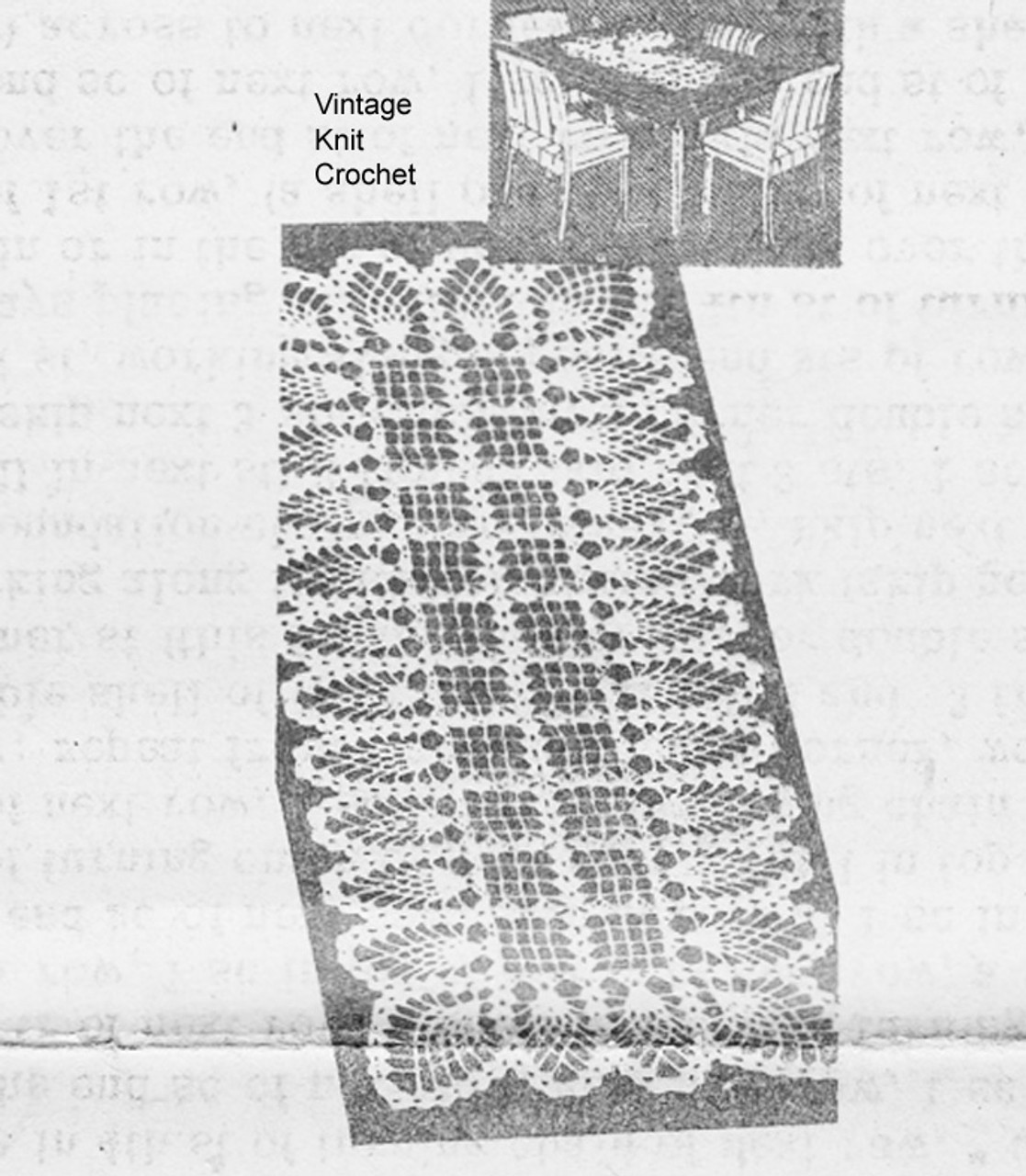 Vintage Pineapple Scarf Crochet Pattern, Laura Wheeler 7006