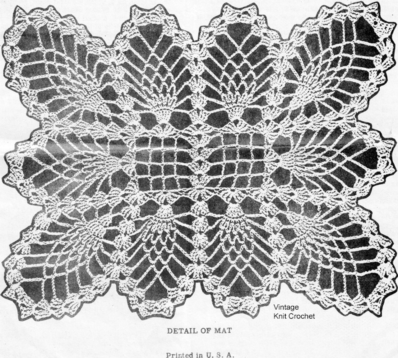 Crochet Pineapple Place Mat Pattern, Design 7006
