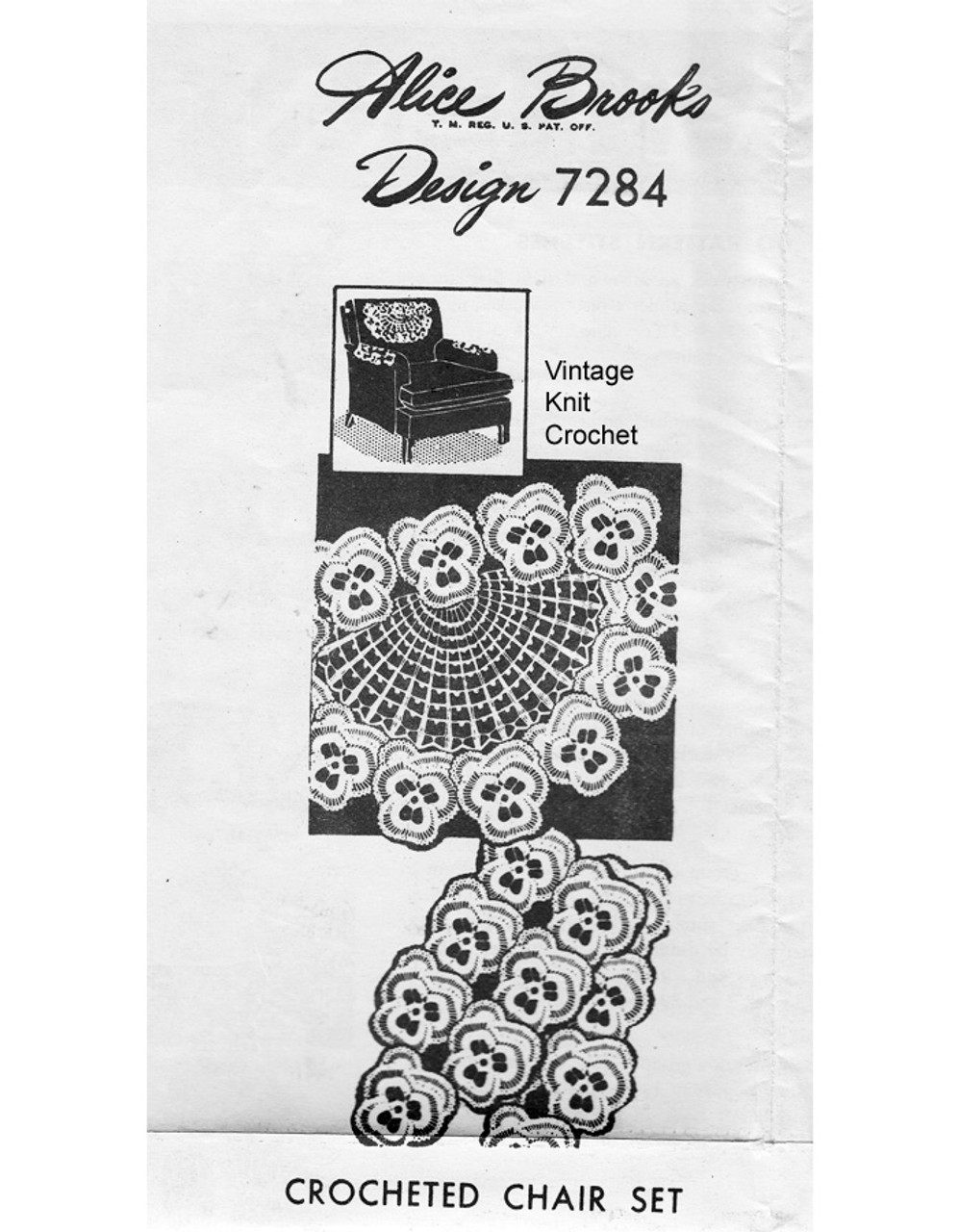 Pansy Chair Doily Pattern Set, Mail Order 7284