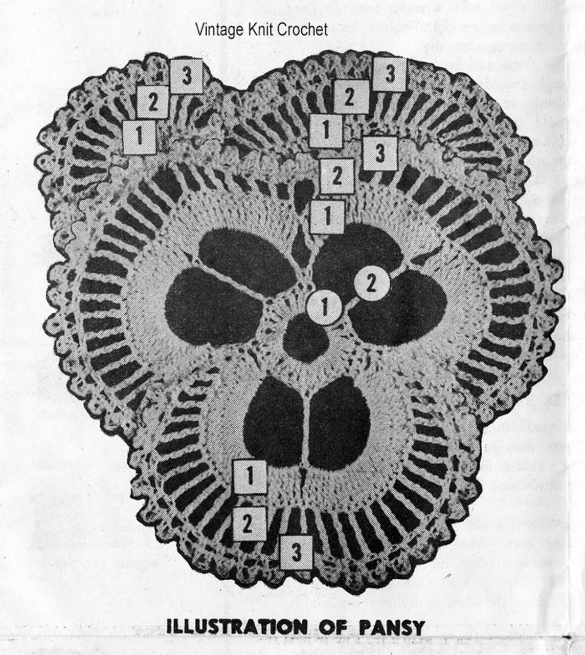 Pansy Crochet Pattern Stitch Detail, Mail Order 7284