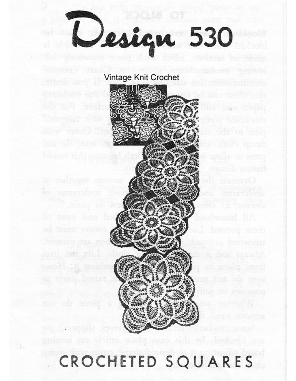 Square Pineapple Crochet Doily Pattern, Mail Order 530
