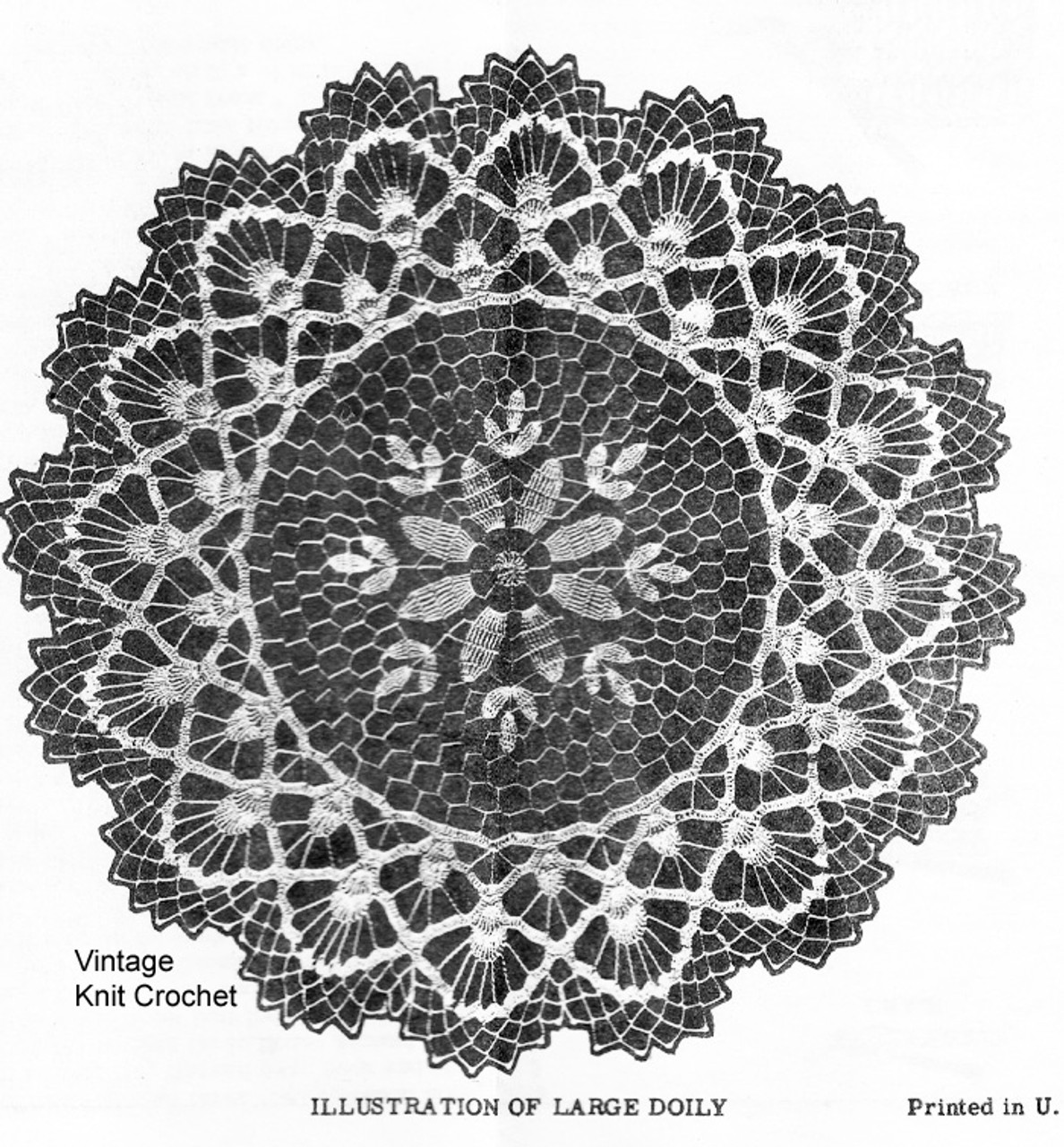 Crocheted Lace Doily Pattern Detail, Design 539