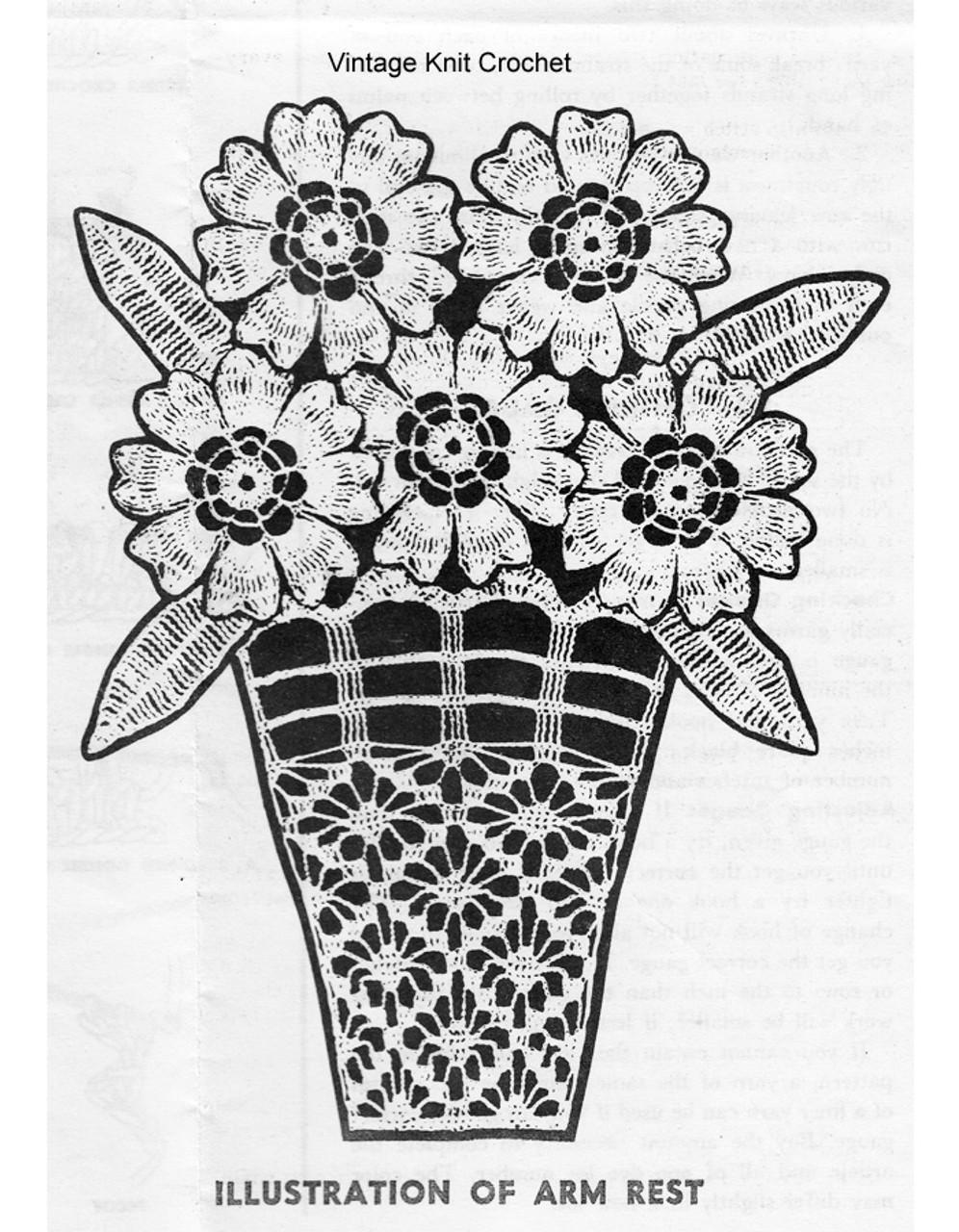 Daisy Crochet Arm Rest Illustration, Mail Order 912