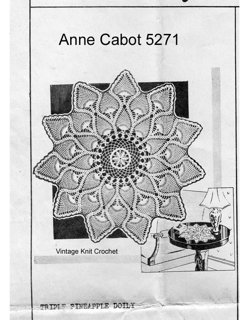 Royal Pineapple Crochet Doily Pattern, Mail Order 5271
