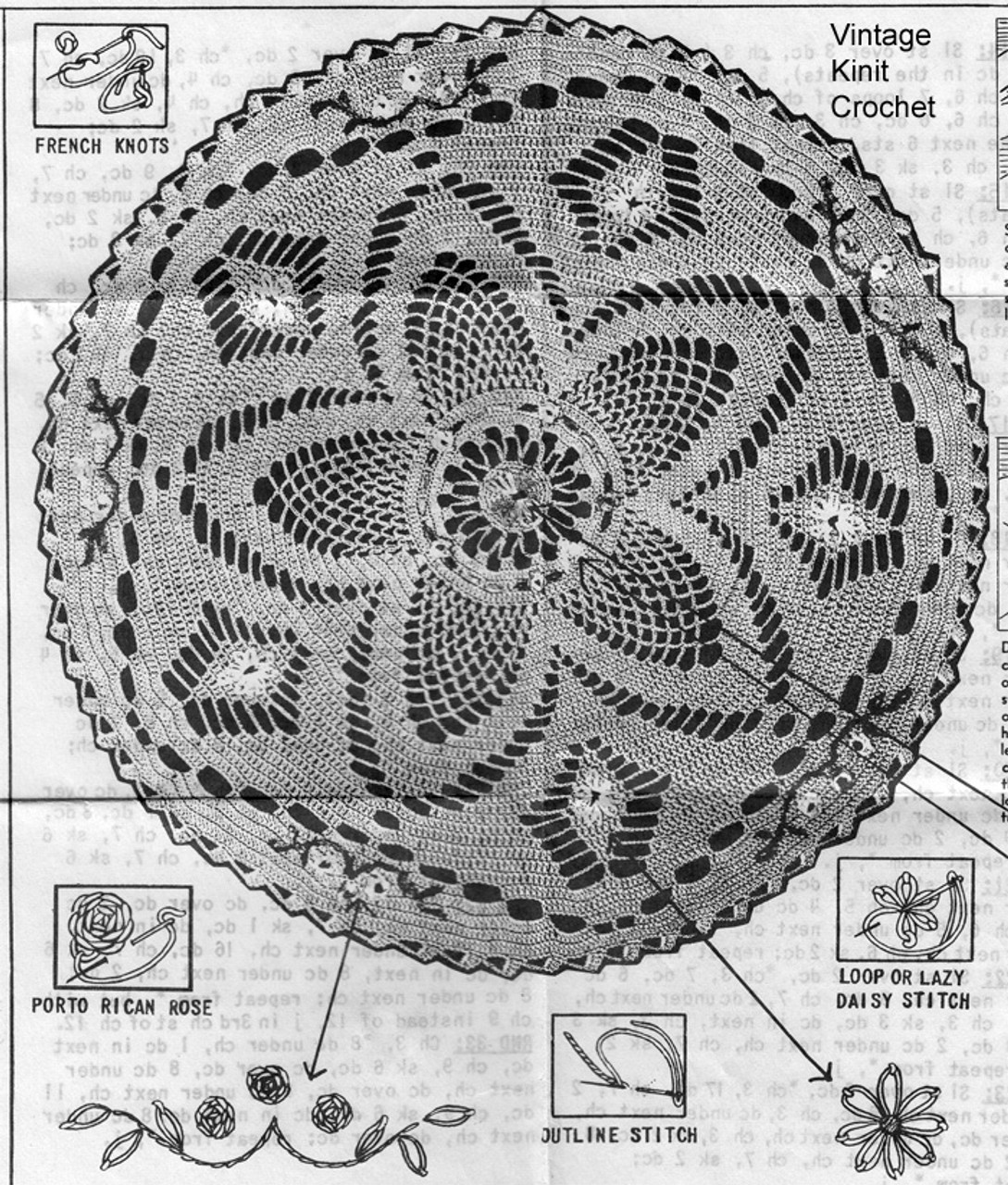 Pineapple Crochet Doily, Flower Embroidery, Anne Cabot 5826