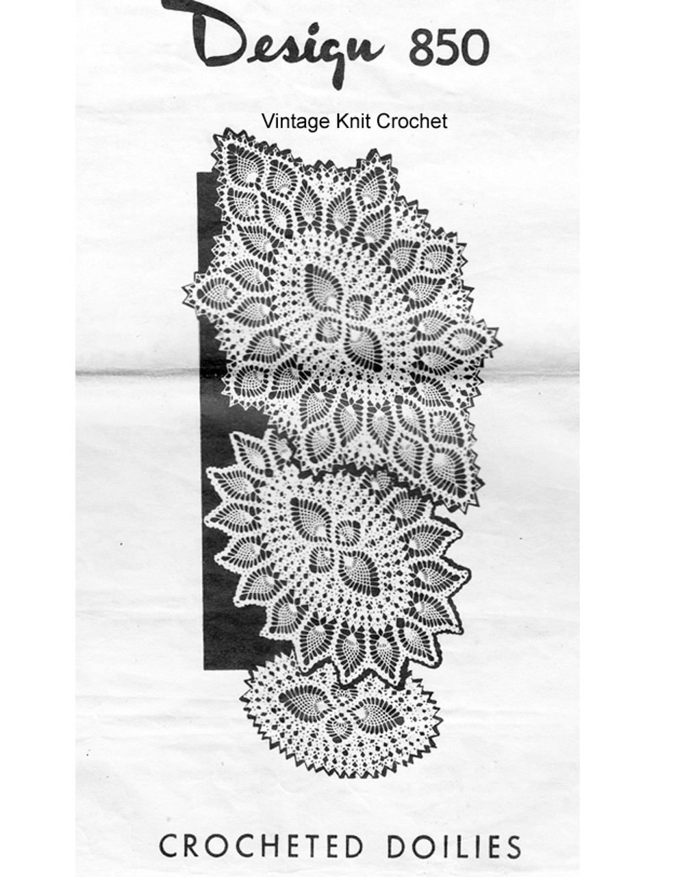 Pineapple border crochet doilies pattern, Mail Order Design 850