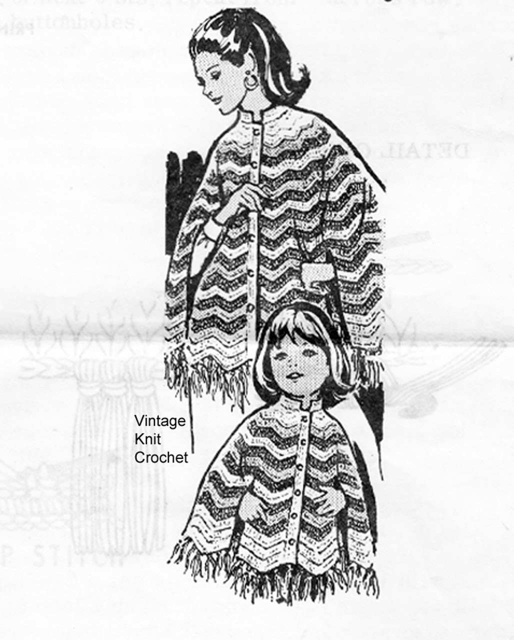 Mother Daughter Crochet Ponchos Pattern, Laura Wheeler 745