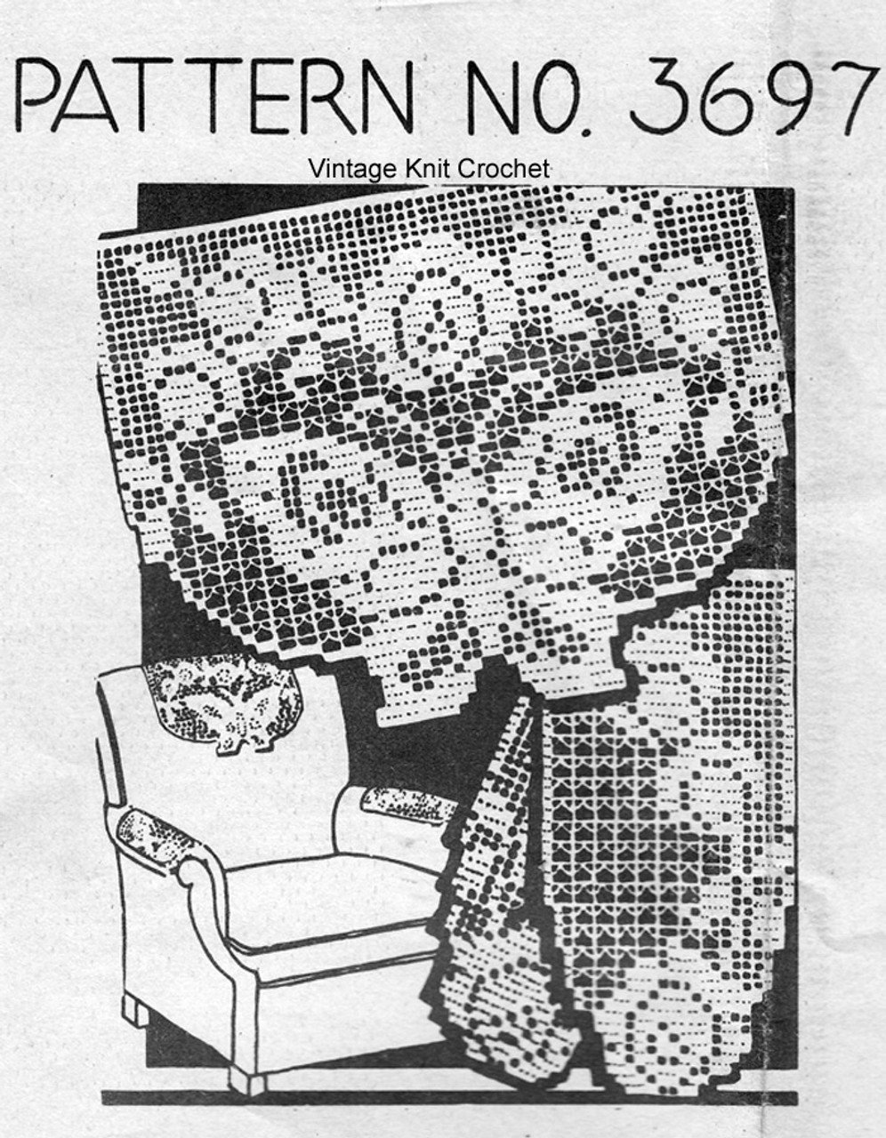 Filet Crochet Butterfly Pattern, Chair Set, Mail Order 3697
