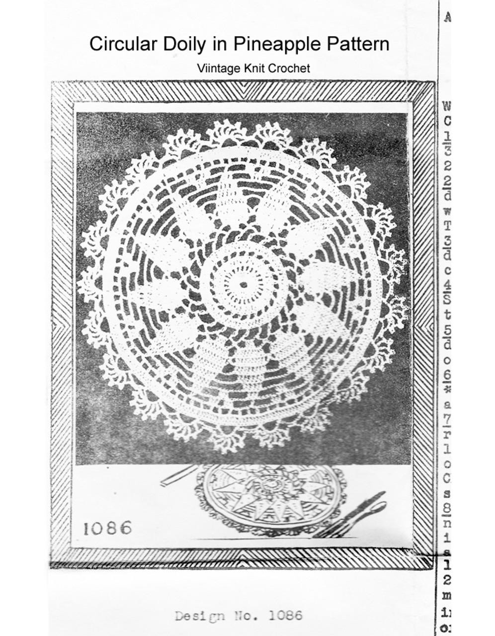 Scalloped Pineapple Crochet Doily Pattern Mail Order E-1086