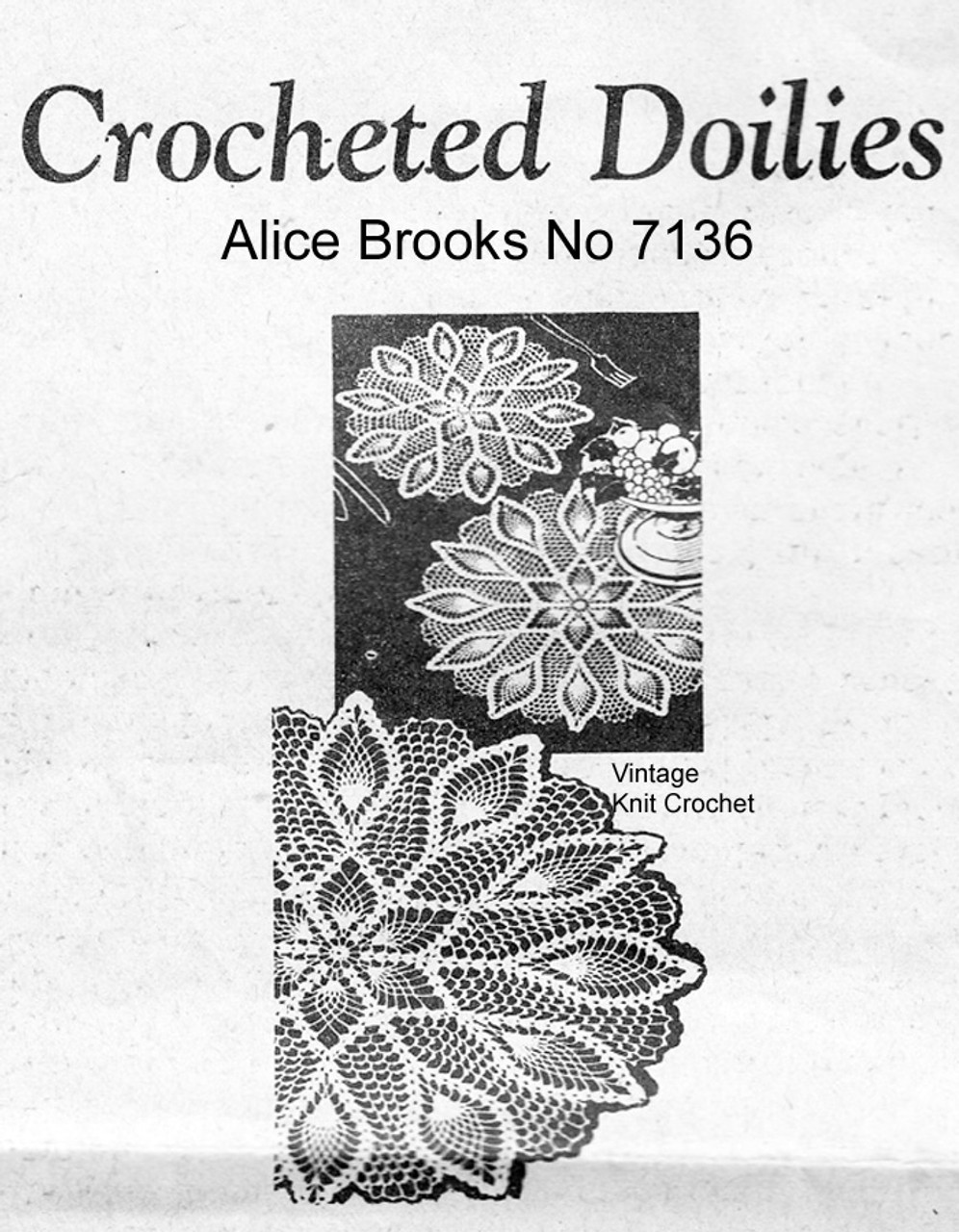Large Crochet Doilies Pattern, Pineapple Design, Mail Order 7136