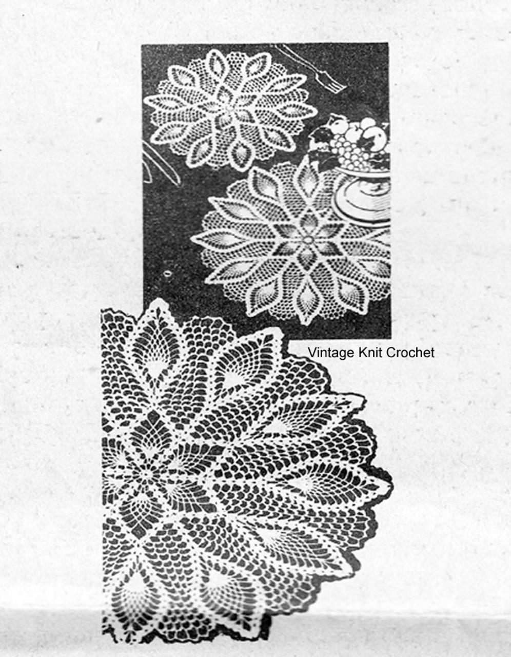 Vintage Pineapple Crochet Doilies Pattern Design 7136