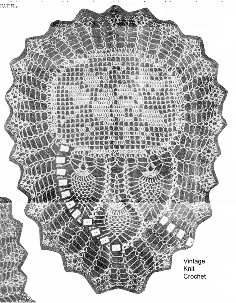 Pineapple Rose Filet Arm Rest Pattern, Mail Order 1295