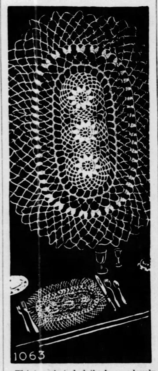 Large Oval Crochet Doily Pattern, Mail Order 1063