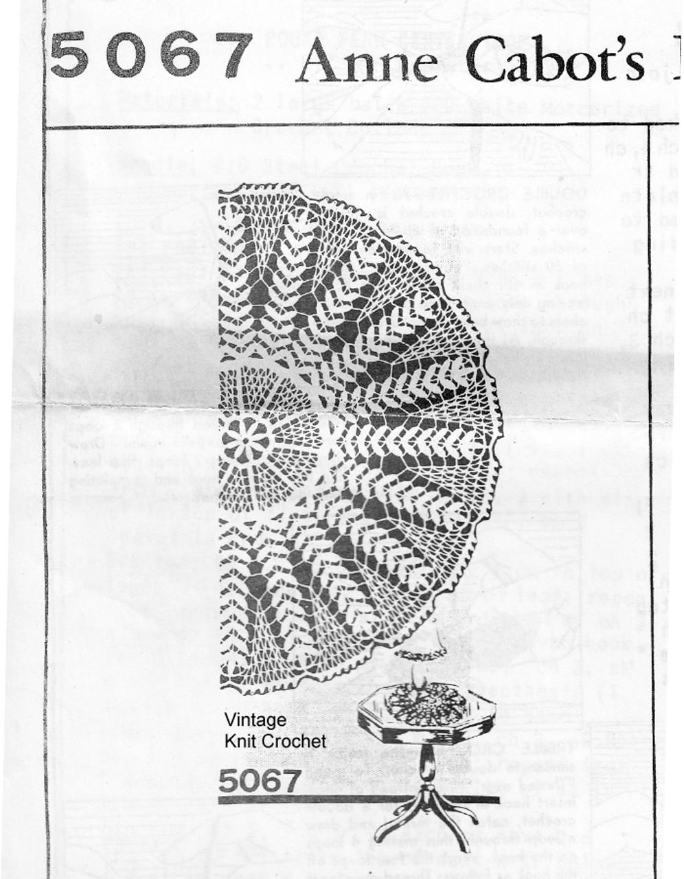 Crocheted Fern Centerpiece Doily Pattern, Mail Order 5067
