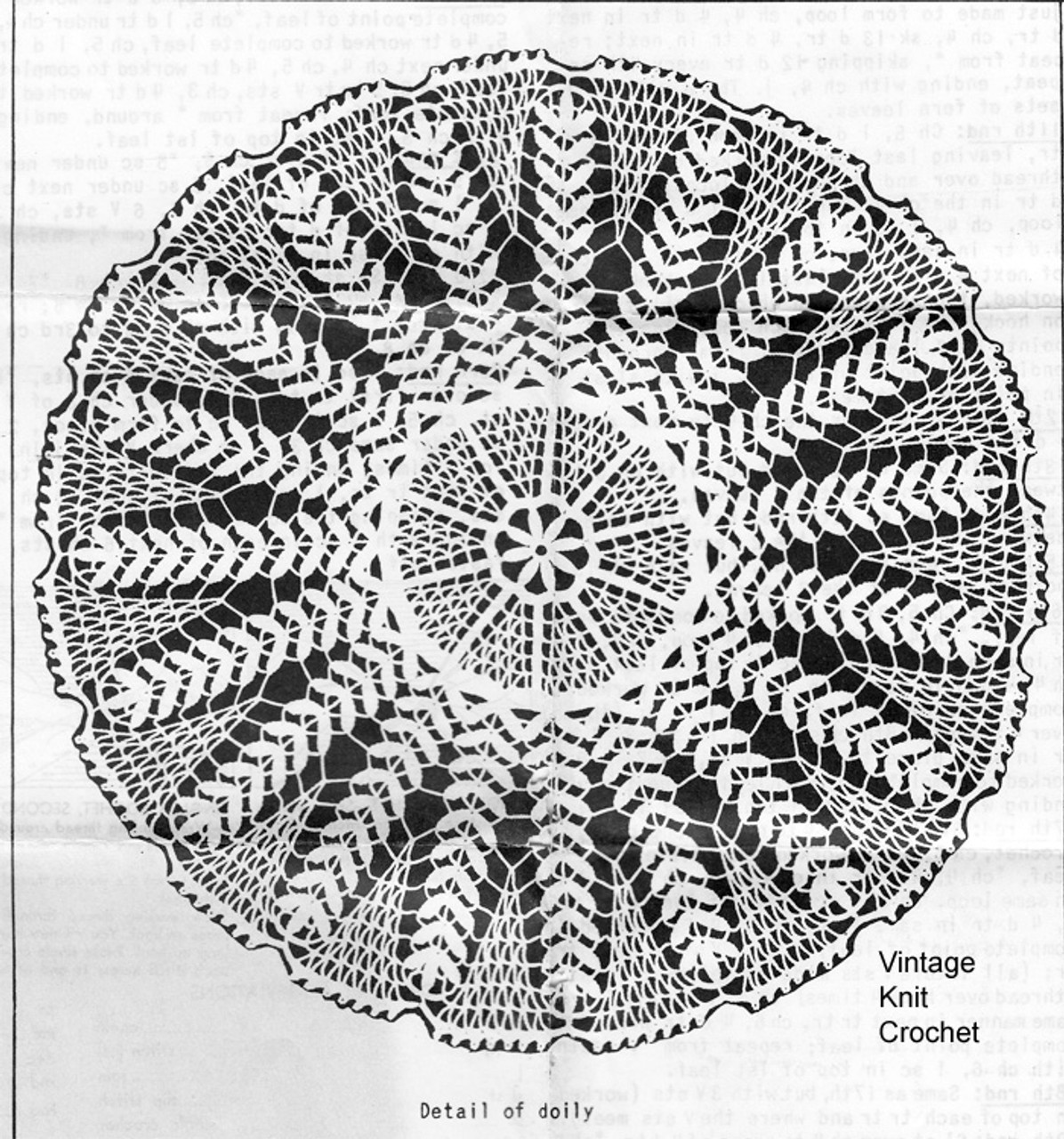 Large Fern Doily Crochet Pattern, Anne Cabot 5067