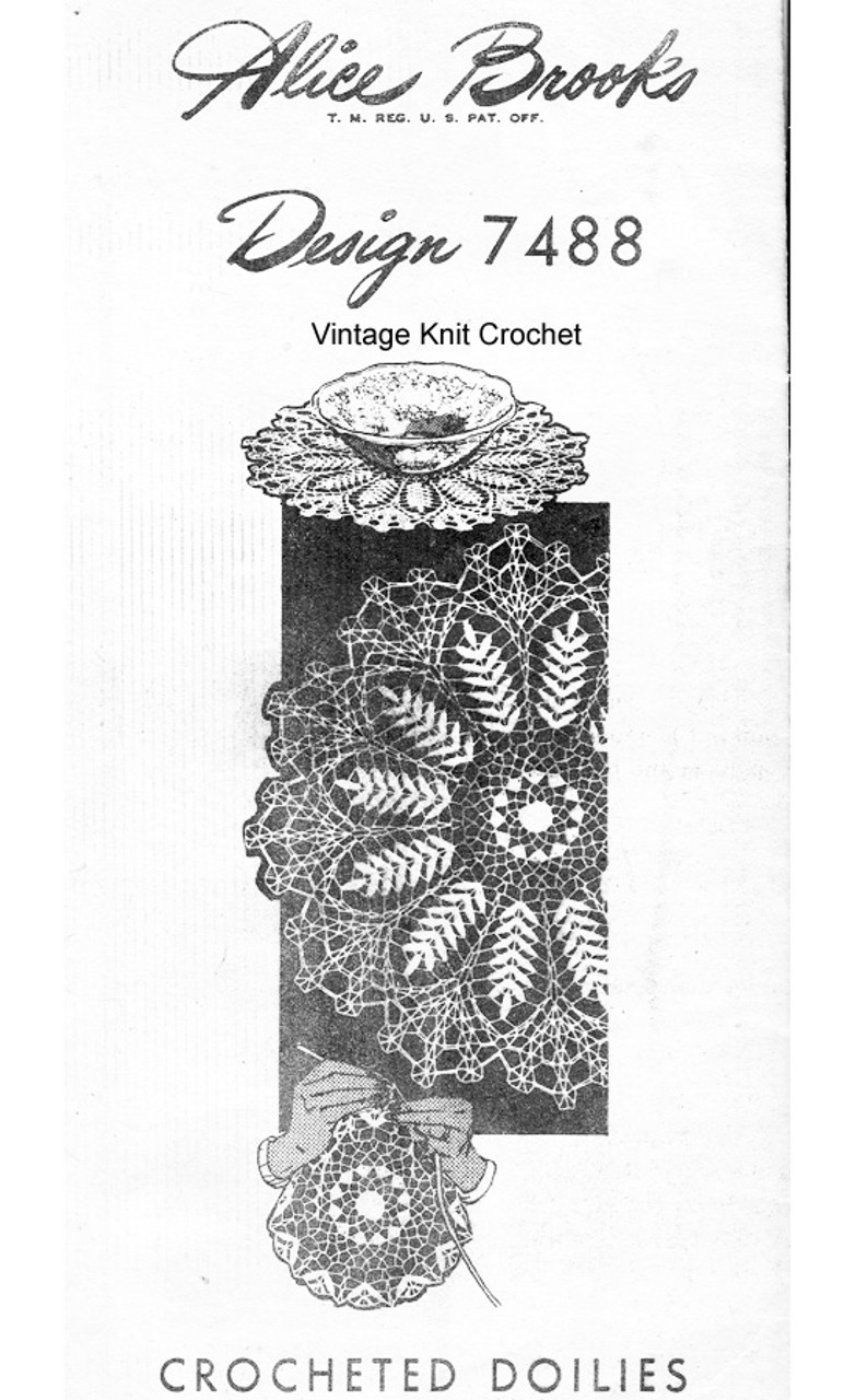 Large Fern Crocheted Doilies, Mail Order Design 7488