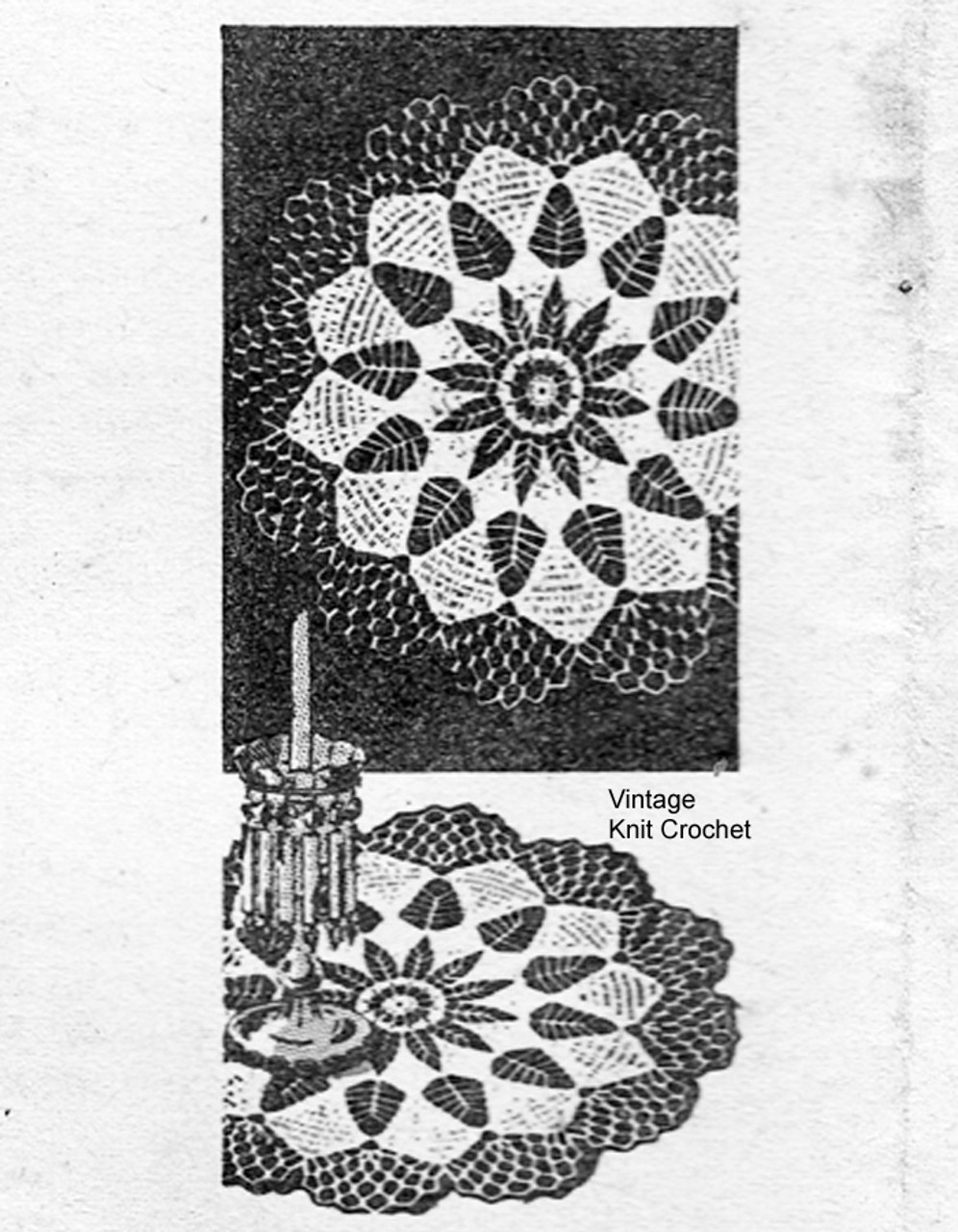 Laura Wheeler crocheted leaf doily pattern, shell border, Design 803