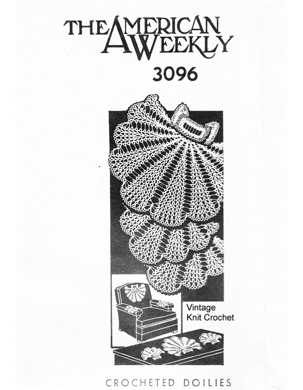 Shell Shape Crochet Doily Pattern, Mail Order 3096
