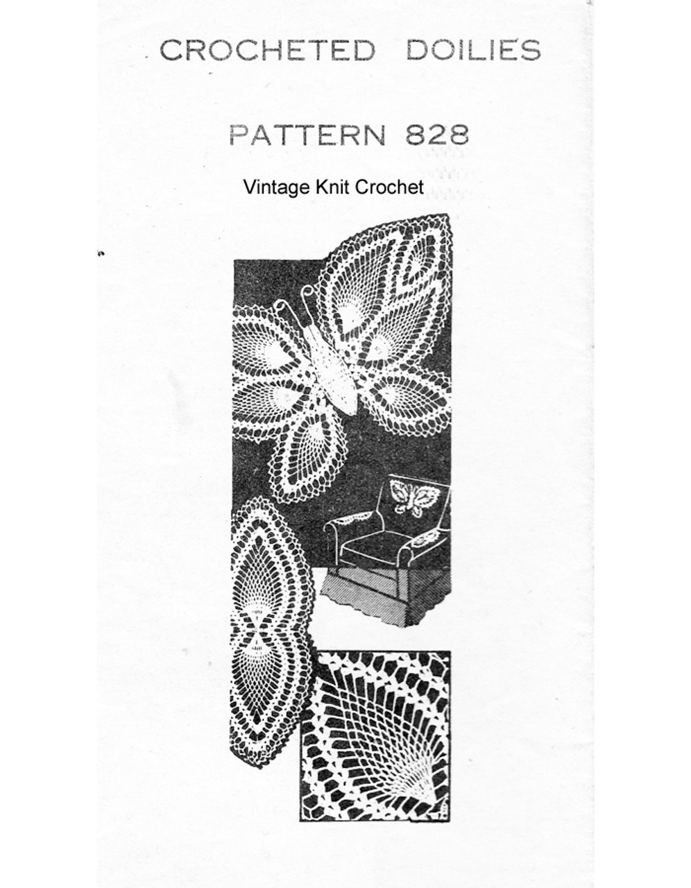 Butterfly Crochet Pattern, Chair Set, Mail Order Design 828