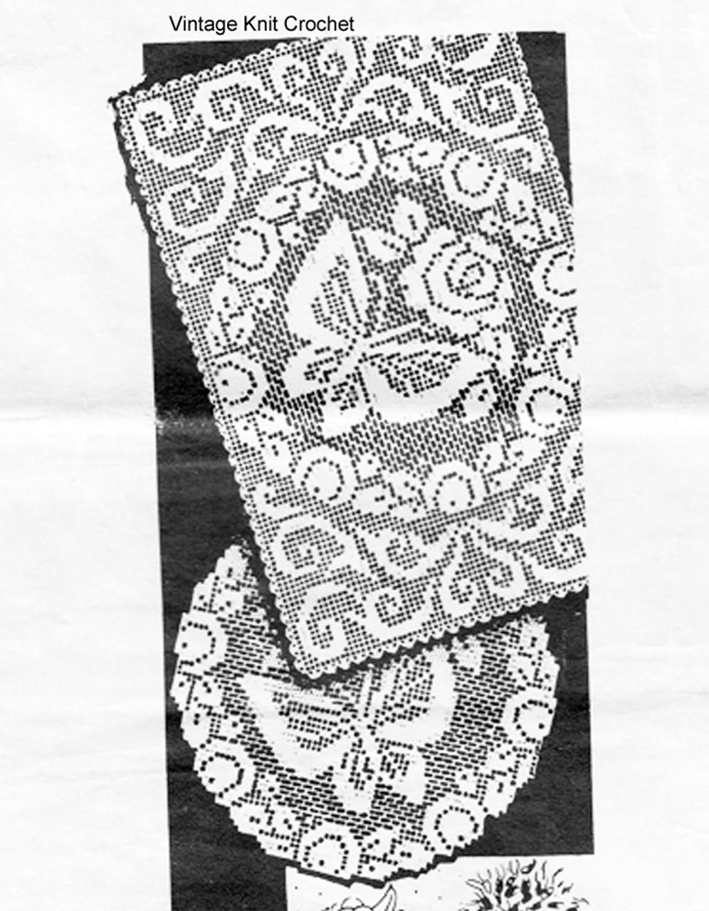 Oblong Filet Crocheted Doily Pattern, Laura Wheeler 829